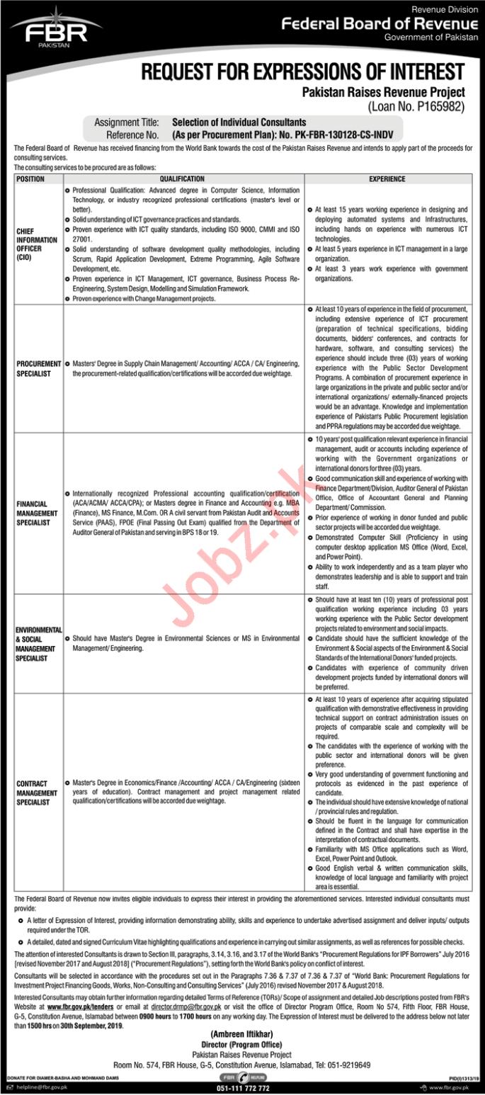FBR Federal Board Of Revenue Islamabad Jobs 2019