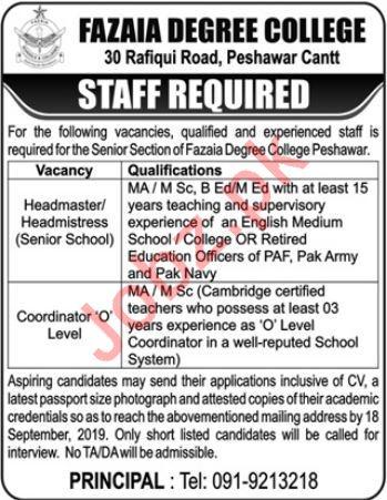 PAF Fazaia Degree College Jobs 2019 in Peshawar Cantt KPK