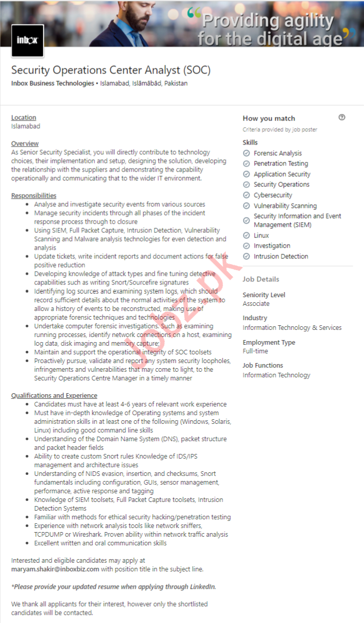 Security Operations Center Analyst Job in Islamabad