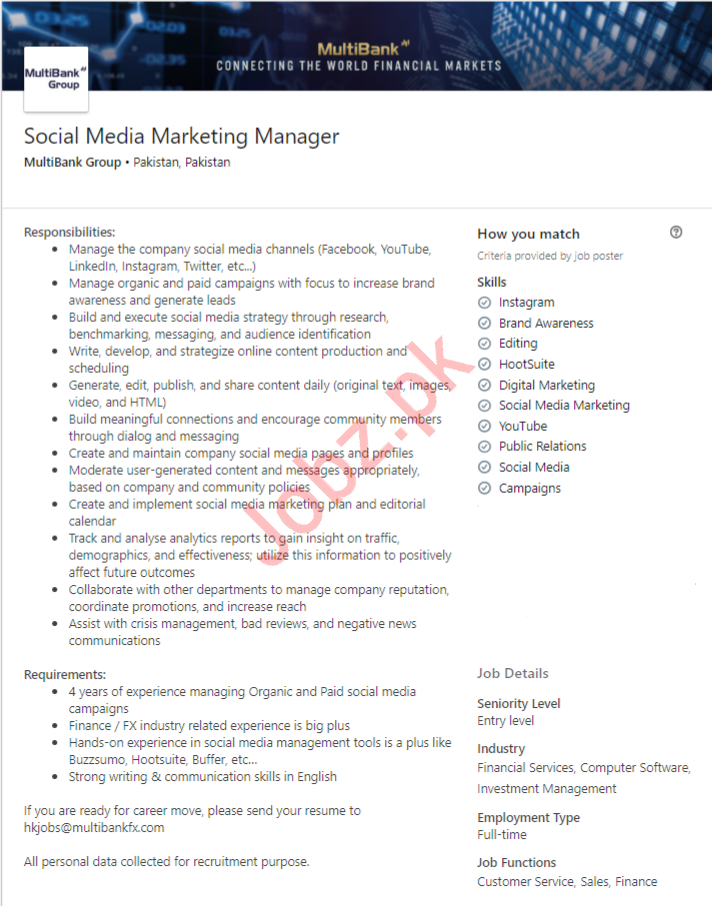 Social Media Marketing Manager Job in Lahore
