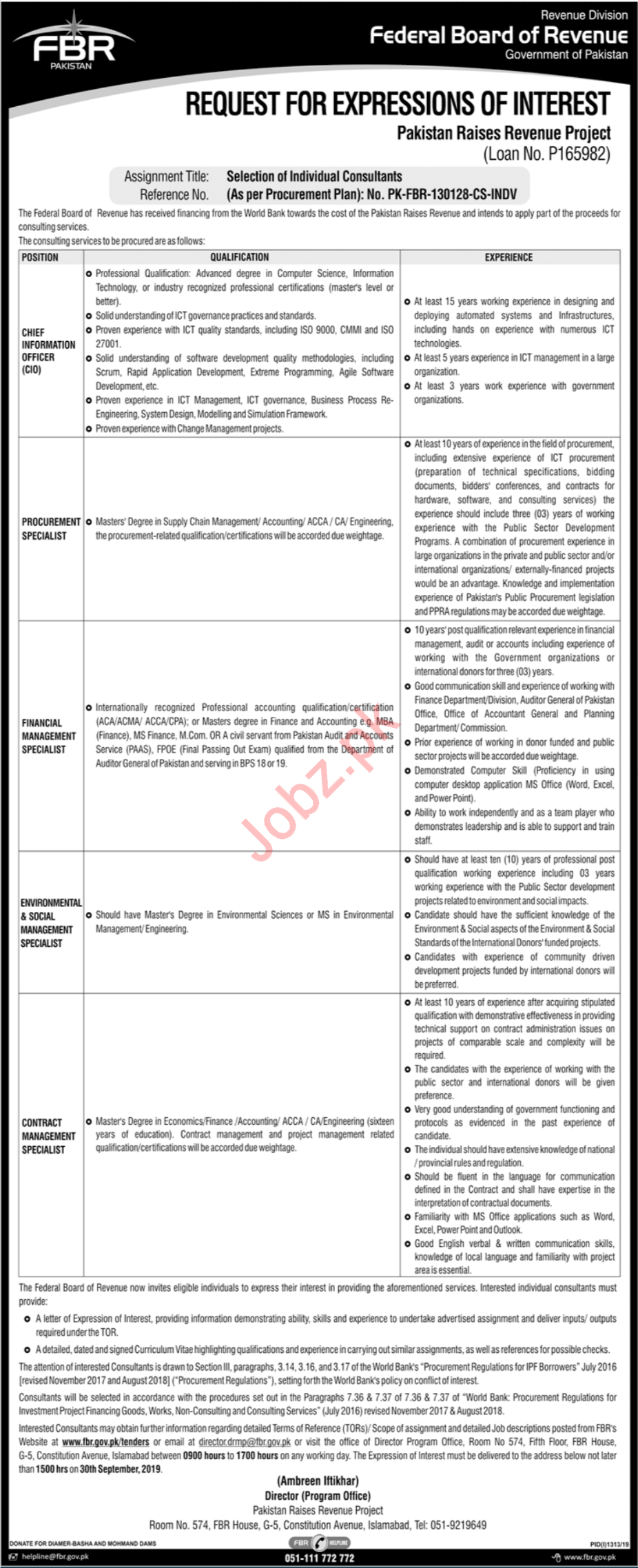 FBR Federal Board Of Revenue Islamabad Jobs 2019