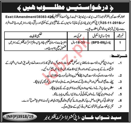 Khyber Pakhtunkhwa Revenue Authority KPRA Jobs 2019