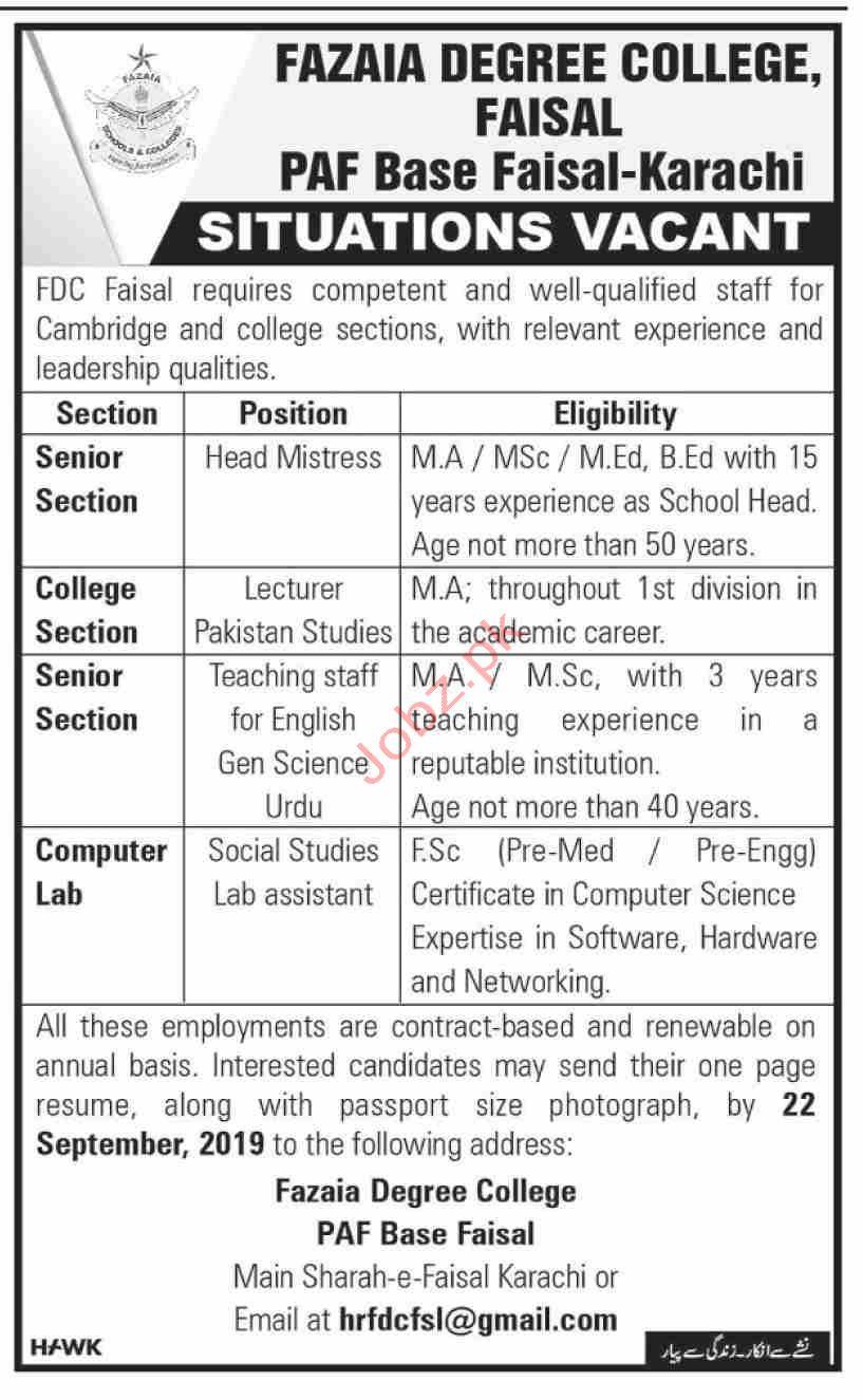 Fazaia Degree College PAF Base Faisal Karachi Jobs