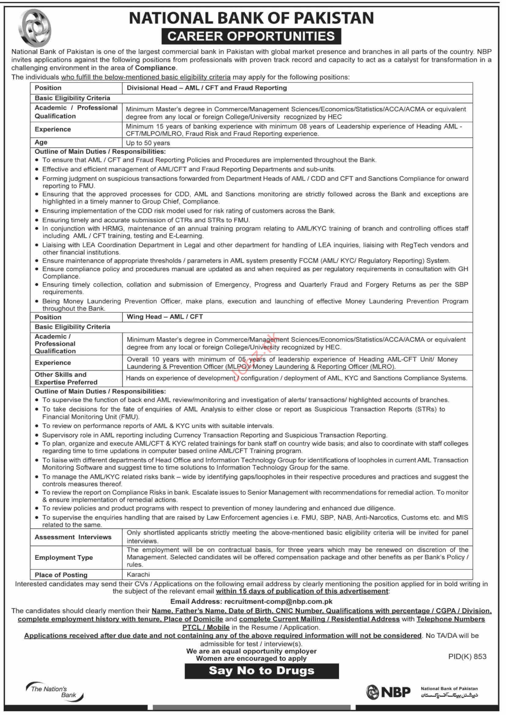National Bank of Pakistan NBP Divisional Head Jobs