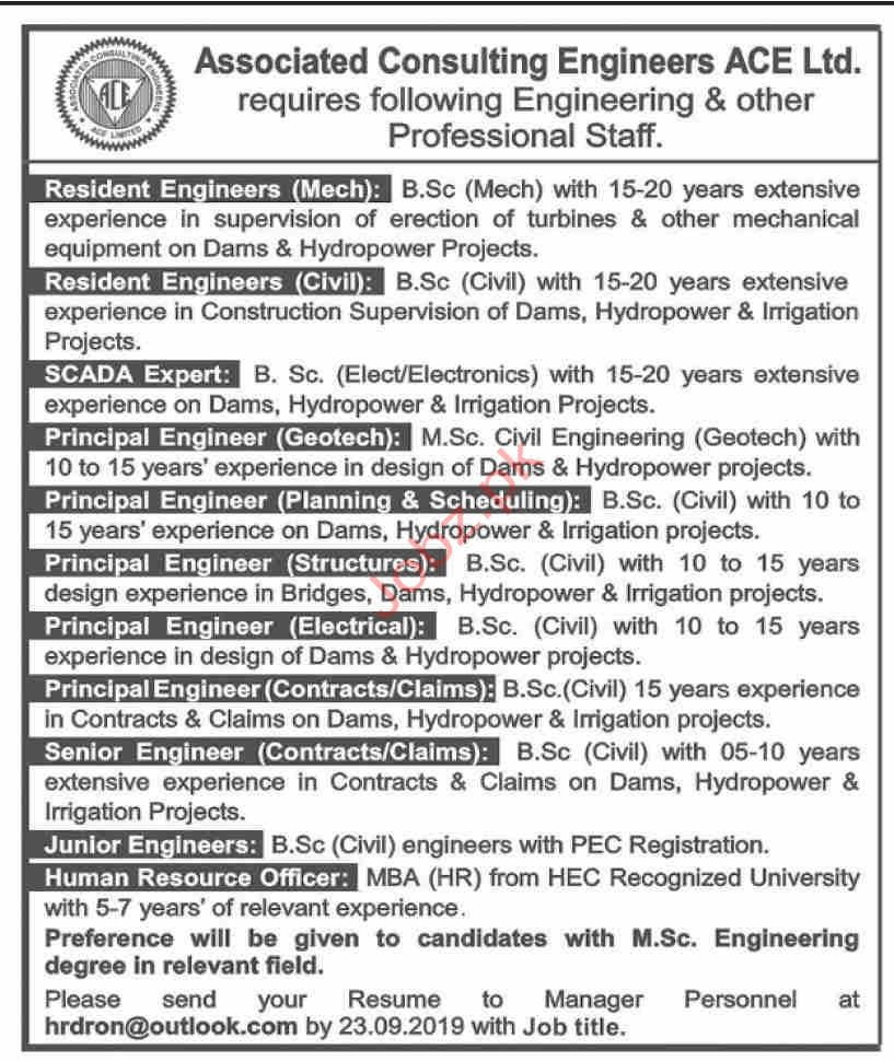 Associated Consulting Engineers ACE Pvt Limited Jobs