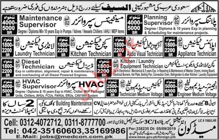 El Seif Company Jobs For Technical Staff In Saudi Arabia