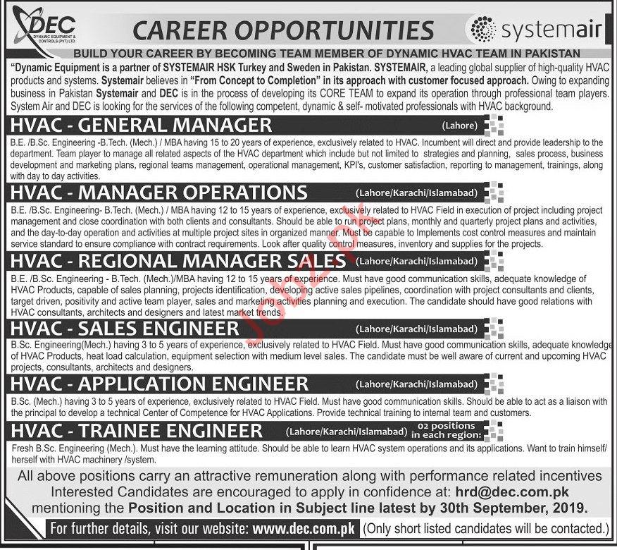 Dynamic Equipment & Controls Pvt Ltd Jobs 2019