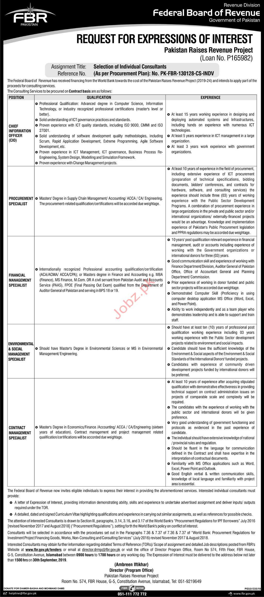 Federal Board of Revenue Islamabad Jobs