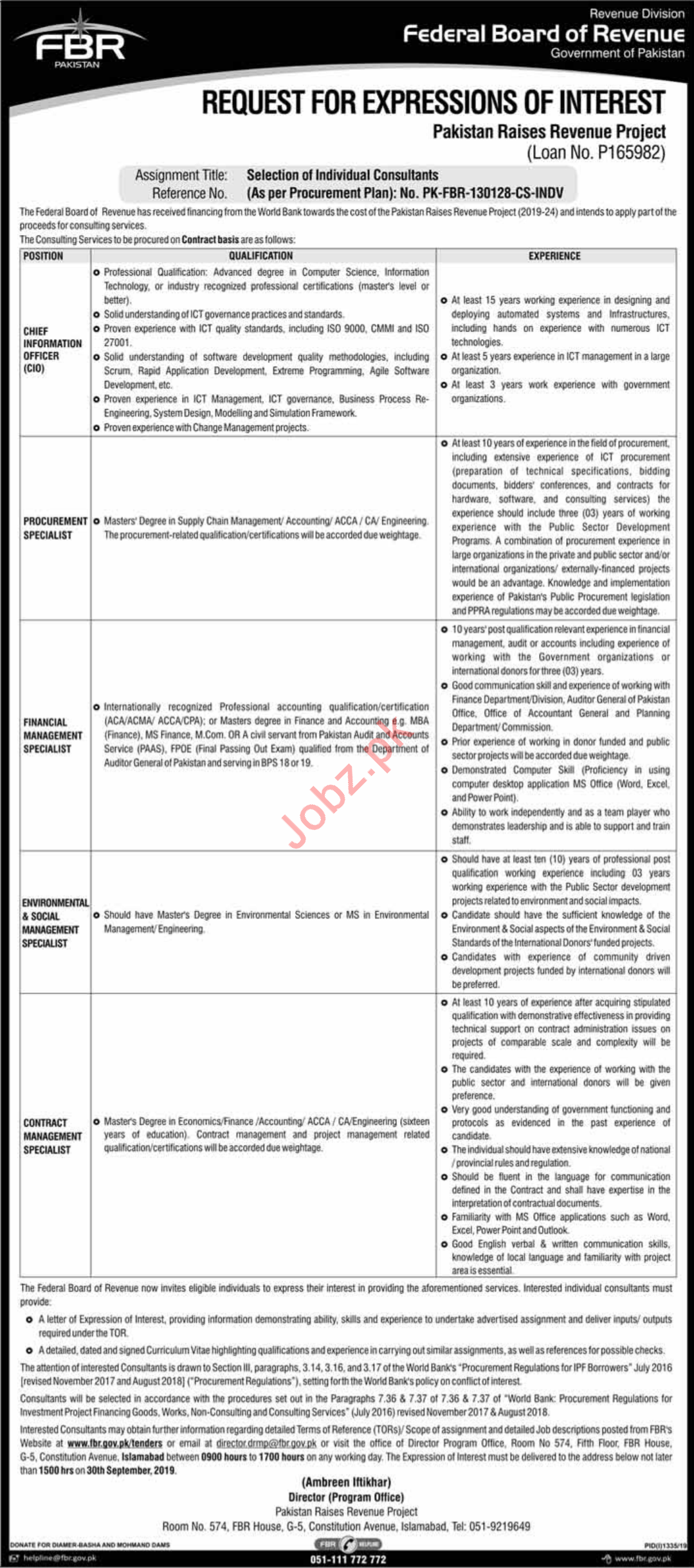 Federal Board of Revenue FBR Jobs For Consultants