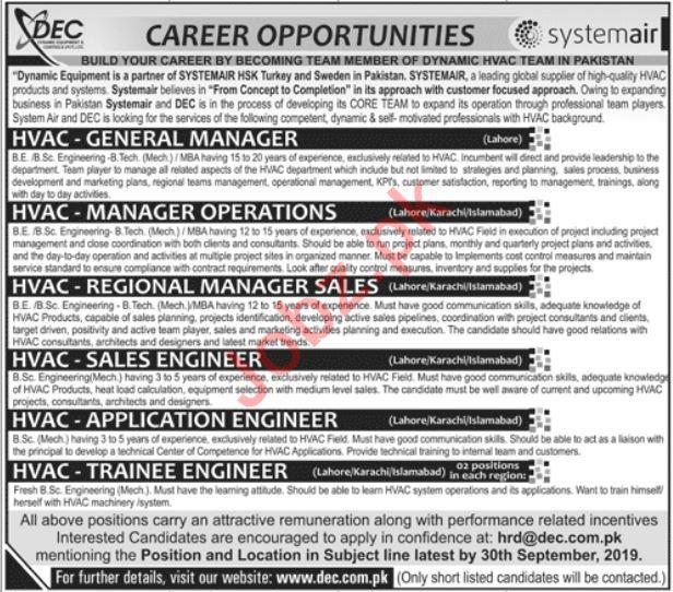 Dynamic Equipment & Controls DEC Pvt Ltd Jobs 2019