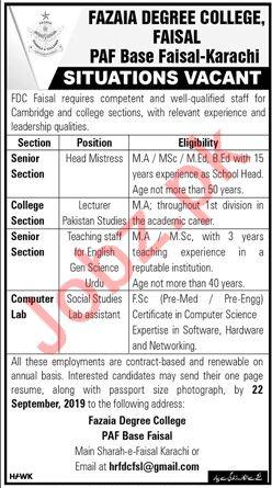 Fazaia Degree College Jobs For Teaching & Non Teaching Staff