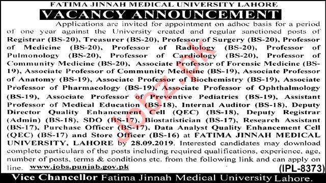 Fatima Jinnah Medical University Faculty & Non-Faculty Jobs