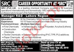 SRC Pvt Limited Manager R&D Jobs