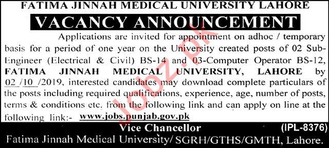Fatima Jinnah Medical University Lahore Jobs 2019