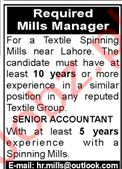 Textile Mill Jobs in Lahore
