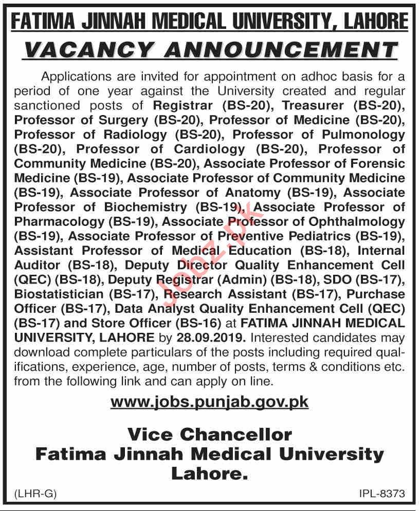 FJMU University Lahore Teaching & Non Teaching Staff Jobs