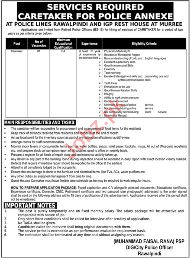 Caretaker Job 2019 For Police Annexe in Murree & Rawalpindi