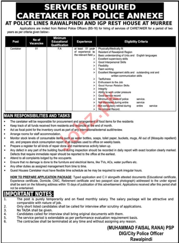 Caretaker Job For Police Lines & IGP Rest House