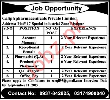 Caliph Pharmaceuticals Private Limited Jobs in Risalpur KPK