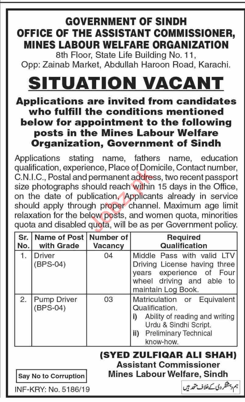 Mines Labour Welfare Organization Karachi Jobs 2019