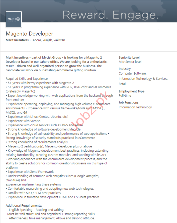 Magento Developer Jobs in Lahore