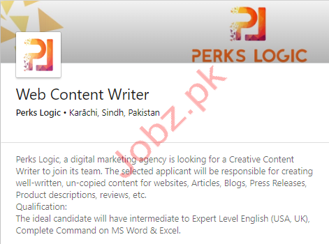 Web Content Writer Jobs In Karachi 2021 Job Advertisement Pakistan