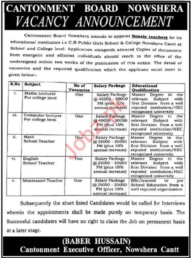 Cantonment Board Nowshera KPK Jobs For Teaching Staff
