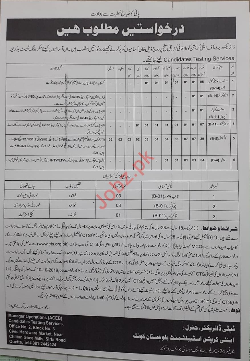 Anti Corruption Establishment Balochistan Quetta Jobs 2019