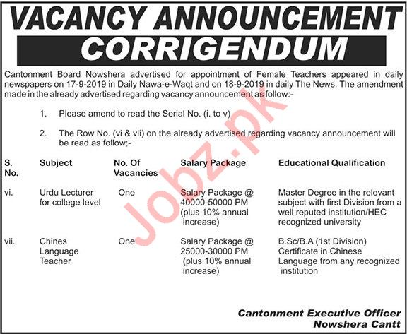 Cantonment Board School Nowshera Jobs 2019