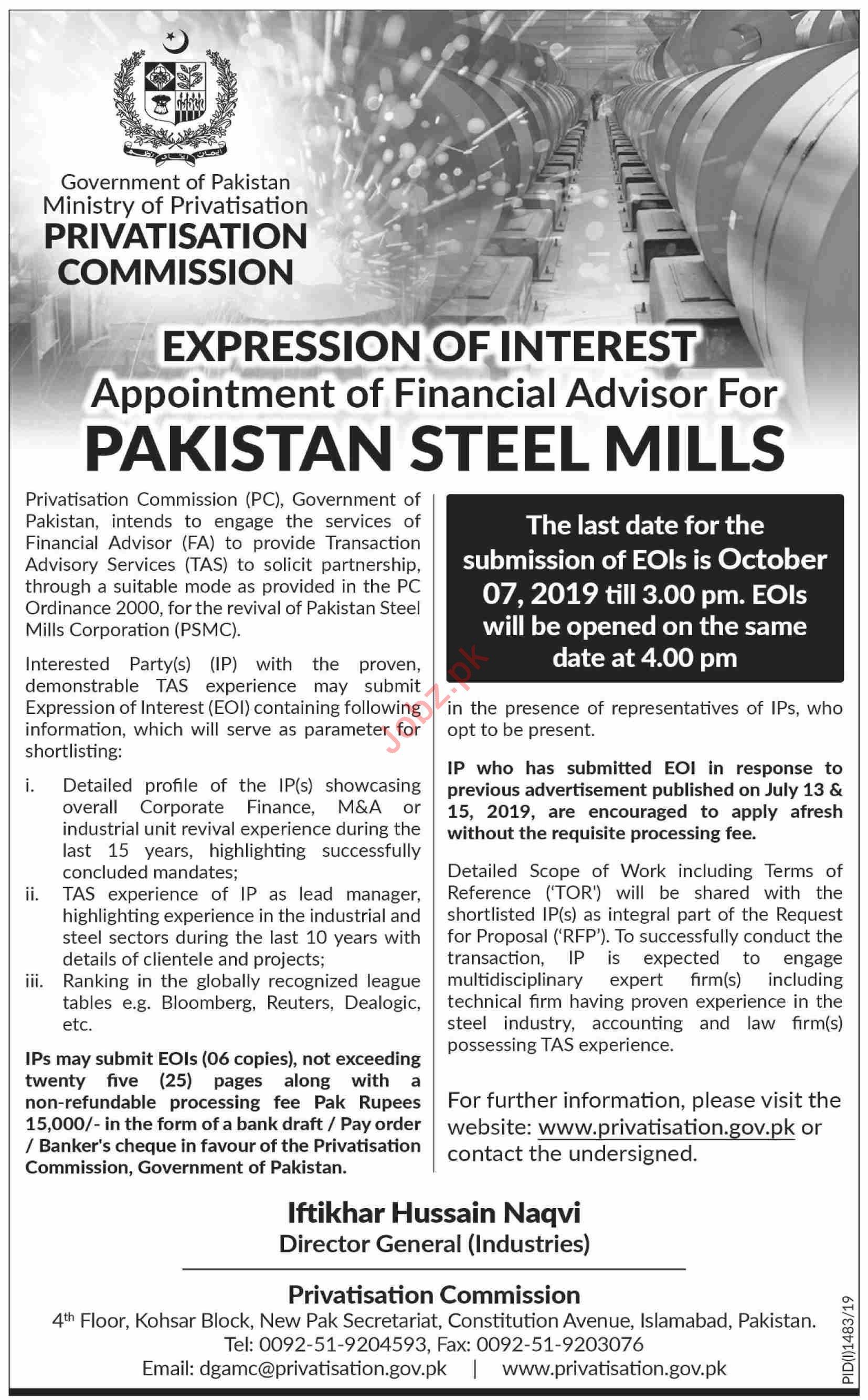 Pakistan Steel Mills Jobs 2019 for Financial Advisor
