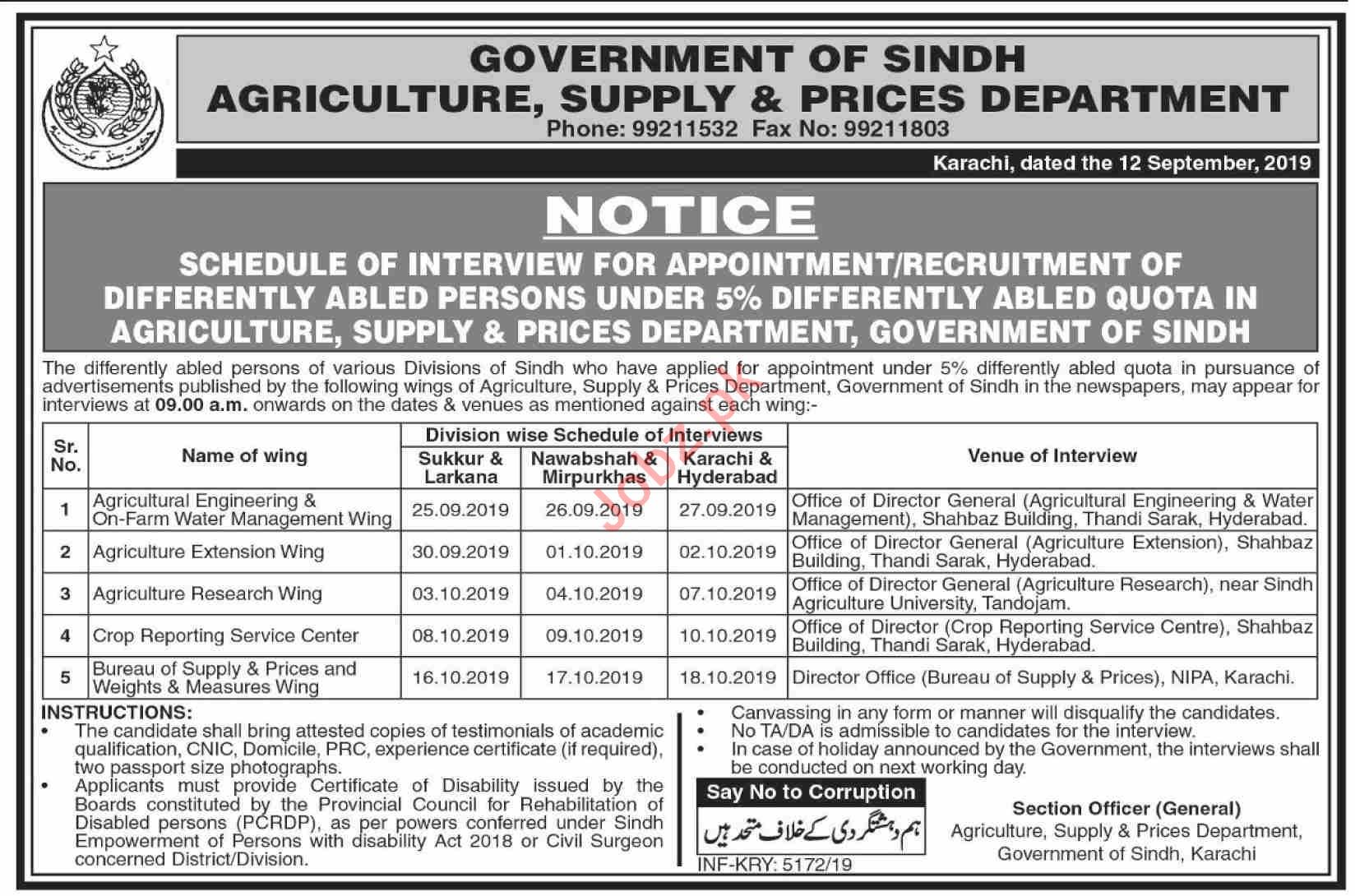 Agriculture Supply & Prices Department Sindh Jobs Interview