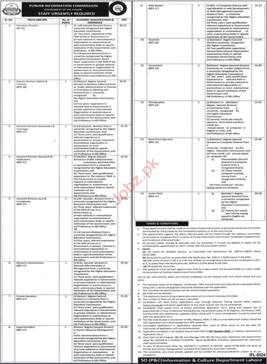 Punjab Information Commission Govt of Punjab NTS Jobs