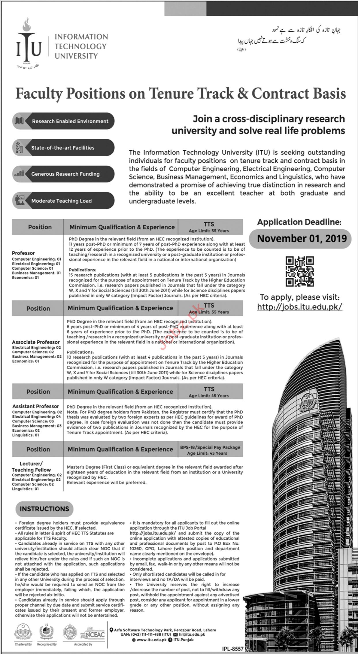 Information Technology University ITU Professor Jobs