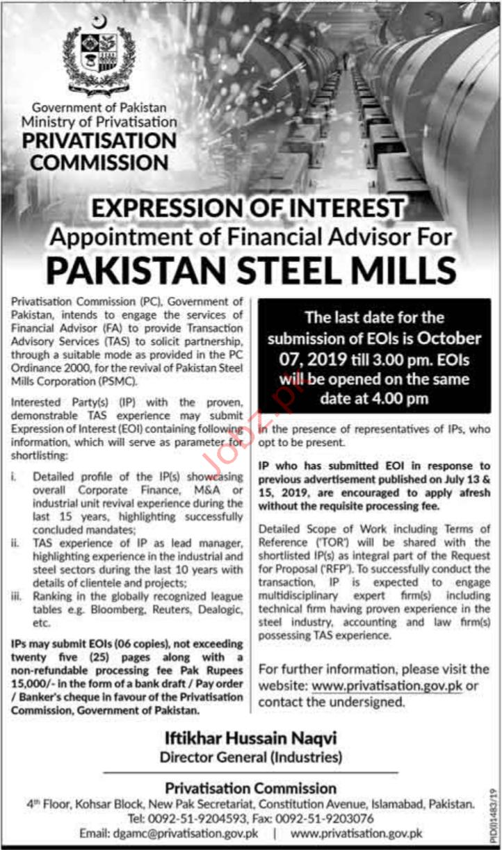 Ministry of Privatisation Jobs in Karachi
