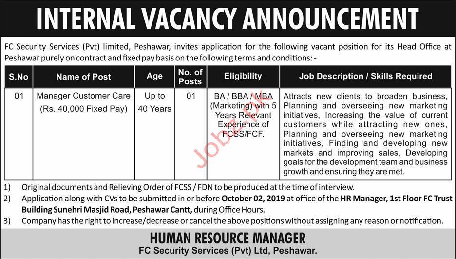 Manager Customer Care Peshawar Jobs