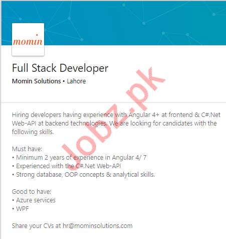 Momin Solutions Lahore Jobs for Full Stack Developer