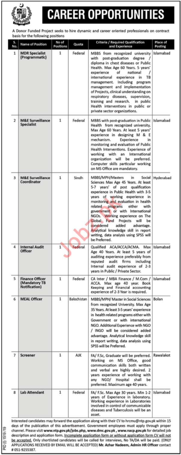 National TB Control Program NTP Jobs 2019