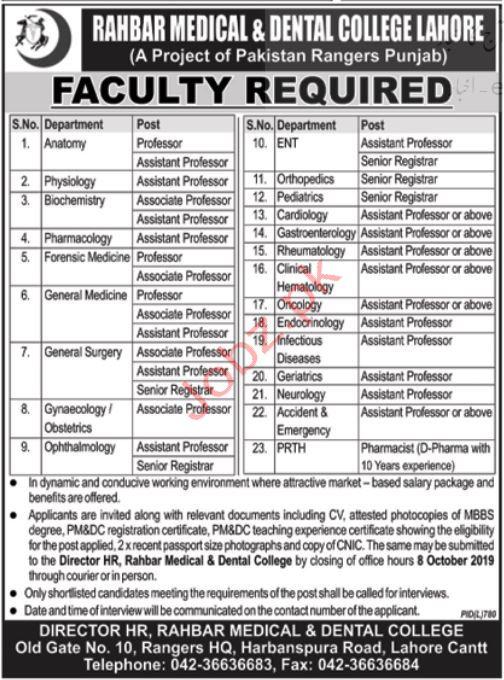 Rahbar Medical & Dental College Lahore Jobs