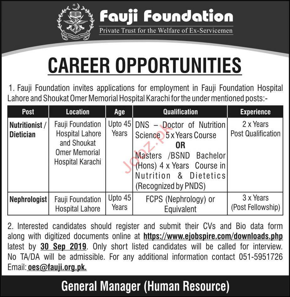 Fauji Foundation Doctor Jobs