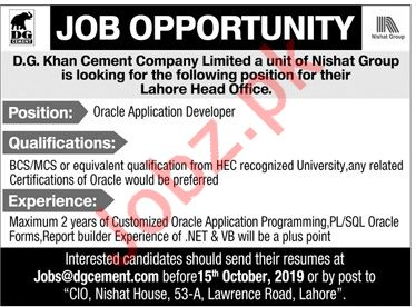 DG Khan Cement Company Limited Job 2019 in Lahore