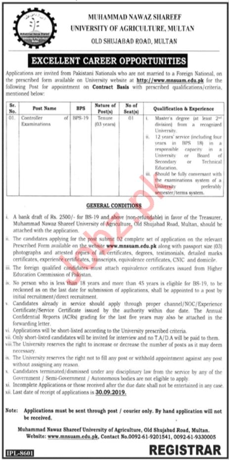 University of Agriculture Multan Jobs 2019