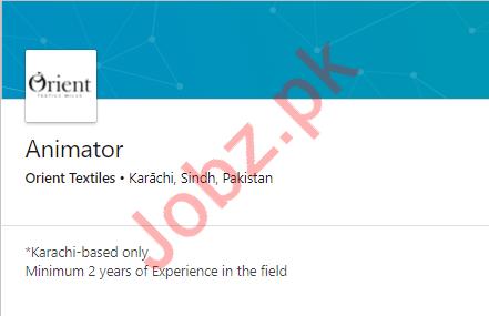 Orient Textiles Job For Animator in Karachi
