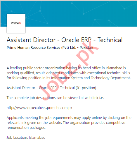 Assistant Director Oracle ERP Technical Job in Islamabad
