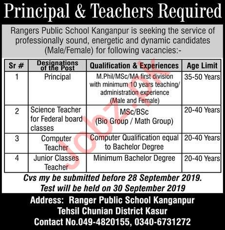 Rangers Public School Kanganpur Jobs 2019