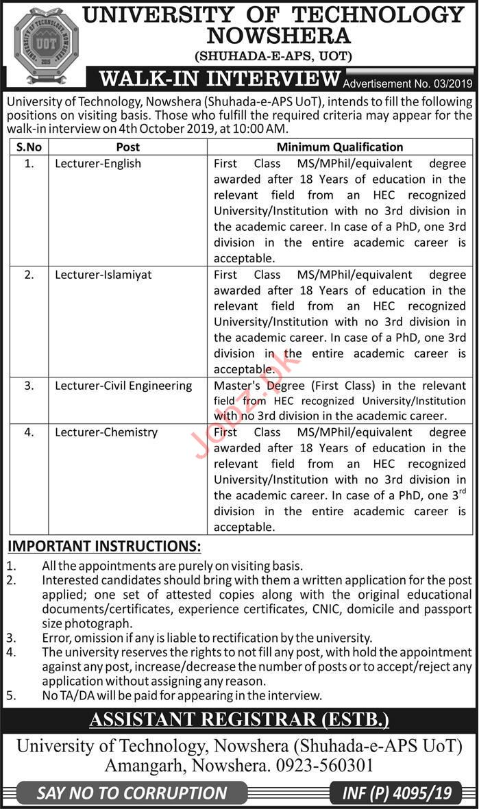 University of Technology Nowshera Lecturer Jobs