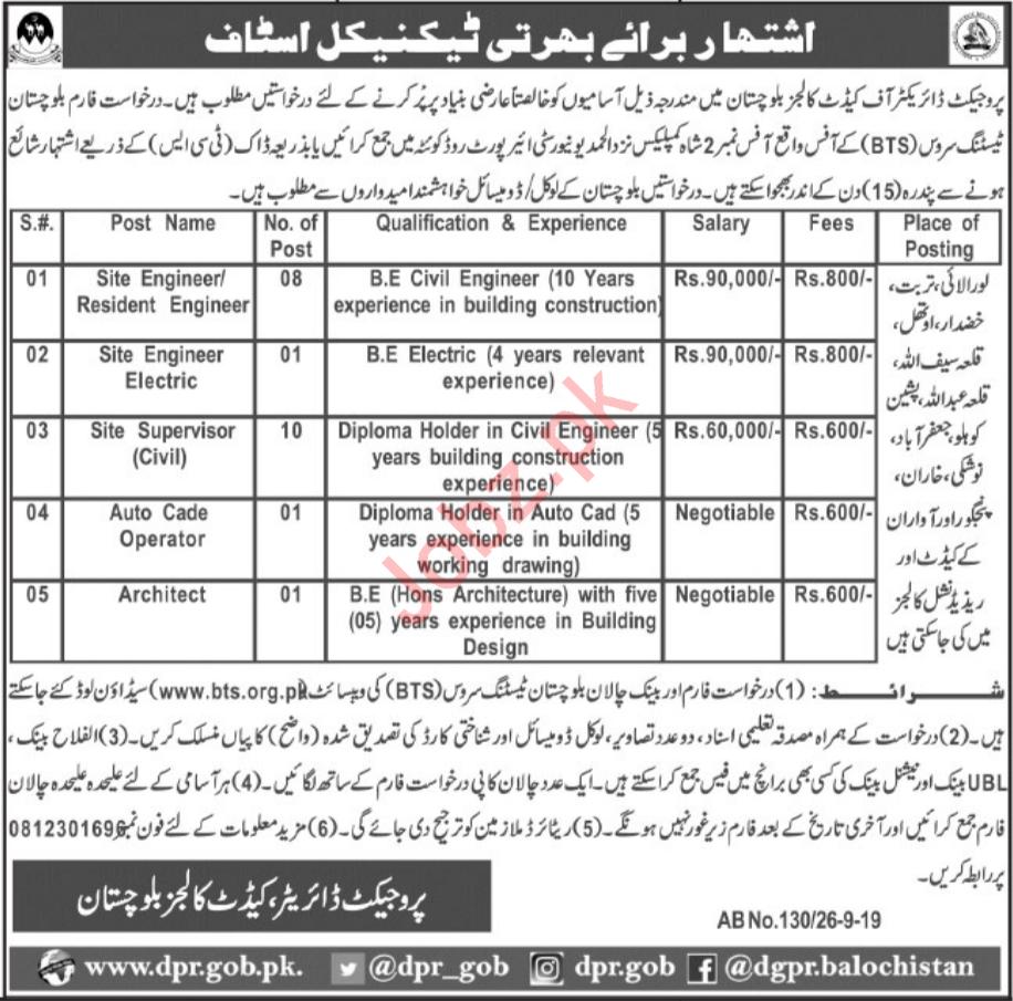 Cadet Colleges Balochistan Engineering Jobs 2019