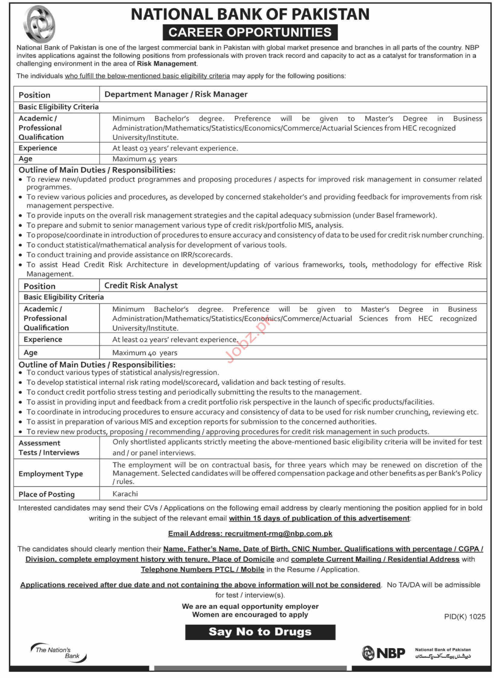 Risk Management Department Jobs in NBP Karachi
