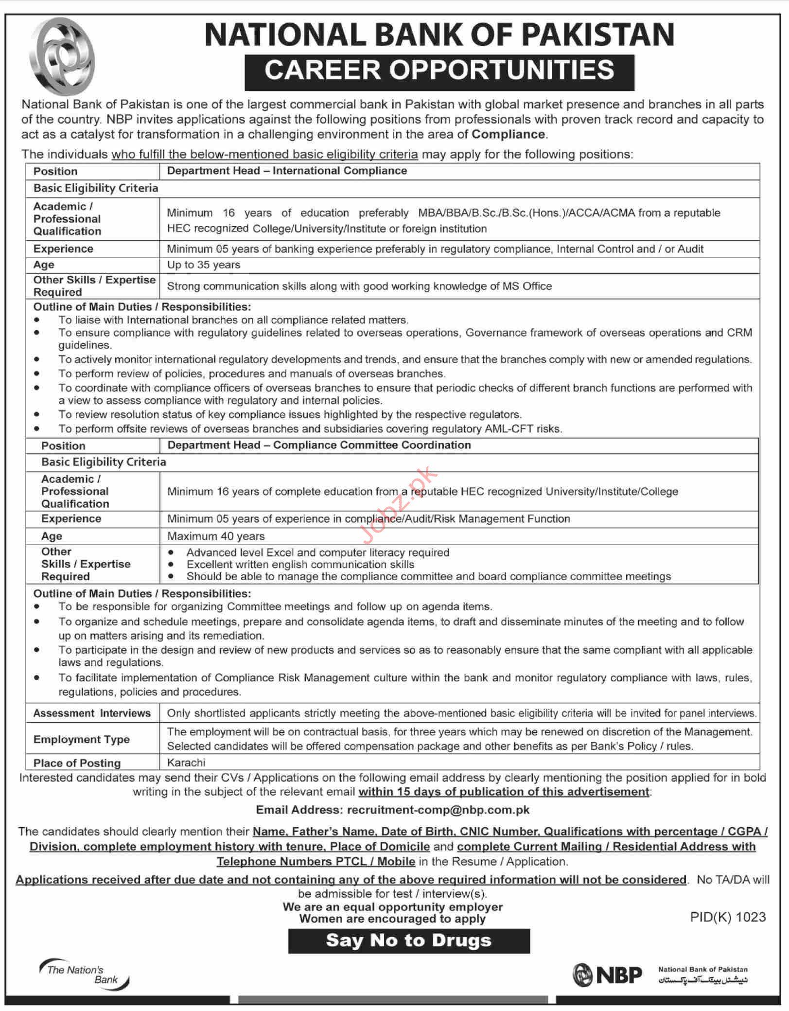 Compliance Department Jobs in NBP Karachi