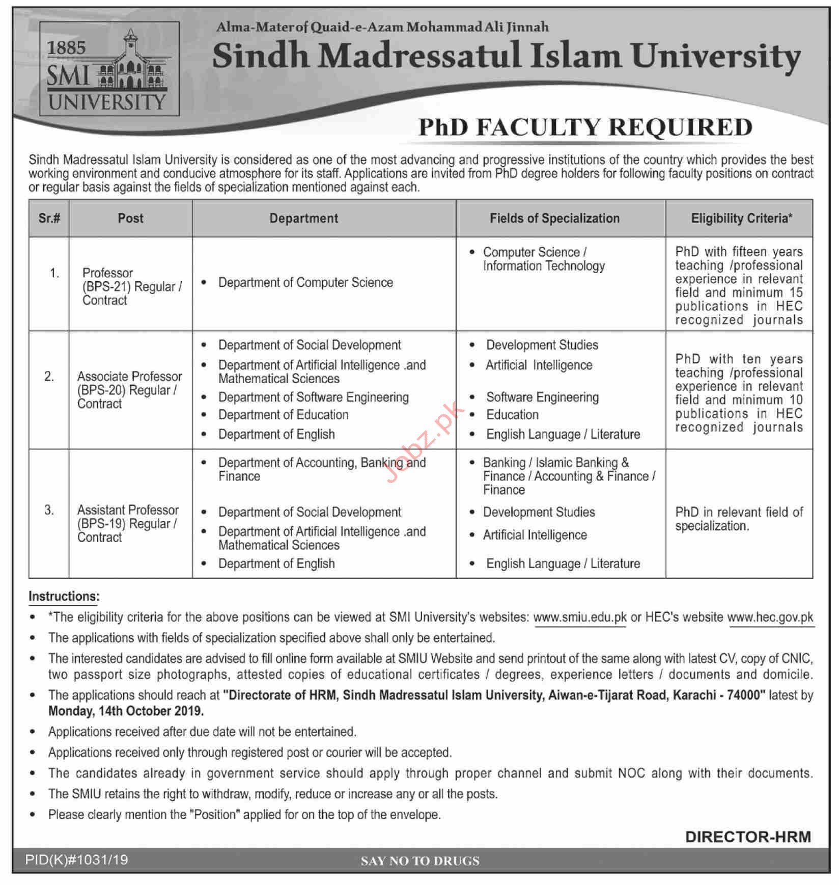 Sindh Madressatul Islam University Karachi Jobs