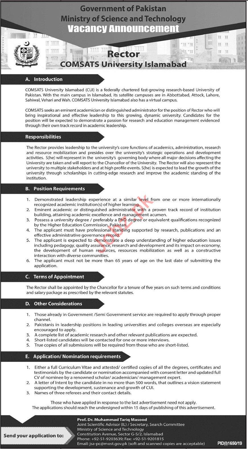 COMSATS University Islamabad CUI Job For Rector